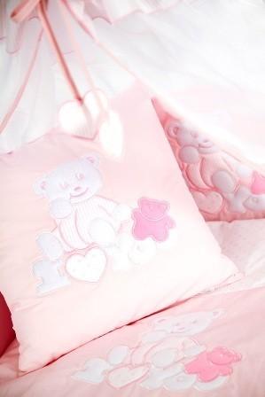 Klups 4 részes ágynemű fehér pink álmos macis
